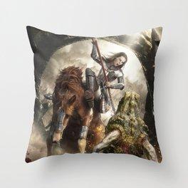 Saint Georgine and the Dragon Throw Pillow