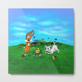 Easter - Spring-awakening - Puppy Capo with Rabbit and Chick Metal Print