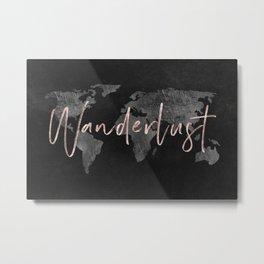 Rose Gold Wanderlust World Map - 65/365 Metal Print