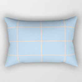 Baby Blue and Peach Criss Cross Stripe Pattern 2021 Color of the Year Wild Blue Yonder Natural Tan Rectangular Pillow