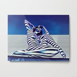 9135-KMA Blue Nude  Woman Striped with Shadow and Light Metal Print