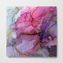 Abstract Ink Painting Floral Pink Metal Print