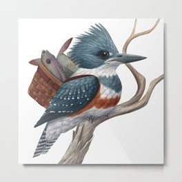 Kingfisher with Lunch Metal Print