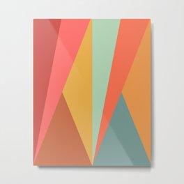 Geometric Triangles - Vibrant Retro Colors Metal Print