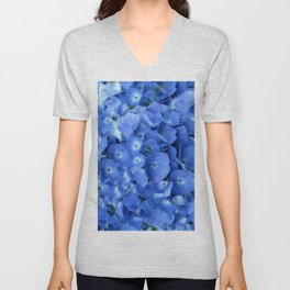 Gorgeous Baby Blue Hydrangeas  Floral Art Unisex V-Neck