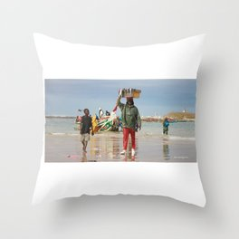 Back fishing day Throw Pillow