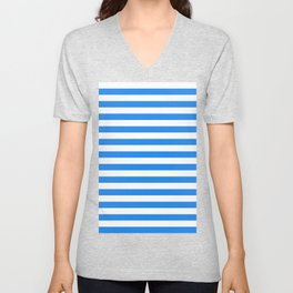 Narrow Horizontal Stripes - White and Dodger Blue Unisex V-Neck