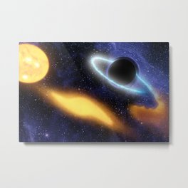 1509. Black Hole Grabs Starry Snack Metal Print