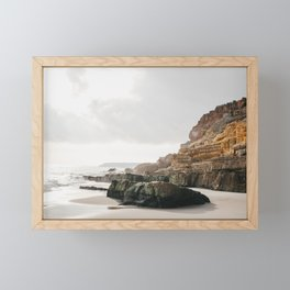 Glistening sea & Rocky Algarve Beach | Southern Portugal sunset, iconic travel photography, Saige Ashton Prints Framed Mini Art Print