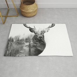 Deer in the woods Rug