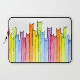 Cat Rainbow Watercolor Pattern Laptop Sleeve