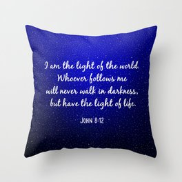 Light of the World - Bible Verse Galaxy Version Throw Pillow