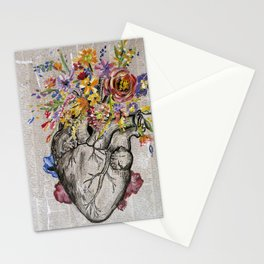 Anatomical Heart & Flowers Stationery Cards