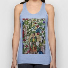 Frida's Garden, Casa Azul Lush Greenery Frida Kahlo Landscape Painting Unisex Tank Top