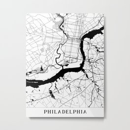 Philadelphia Minimal Map Metal Print