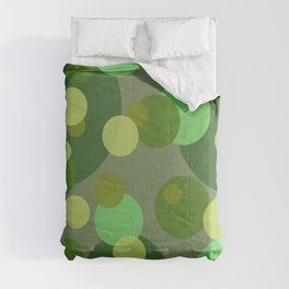 Round Bubbles green yellow patten Comforters