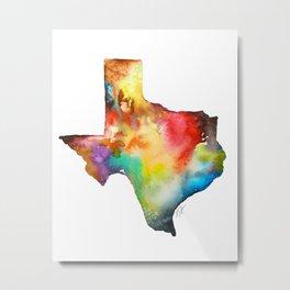 Texas Map Watercolor Metal Print