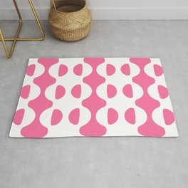 GROOVY RETRO FRENCH PINK AND WHITE WAVY HALF CIRCLE PATTERN  Rug