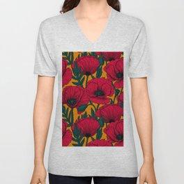 Red poppy garden    Unisex V-Neck