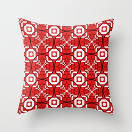 Convergence Pattern - Red on White with Black Throw Pillow