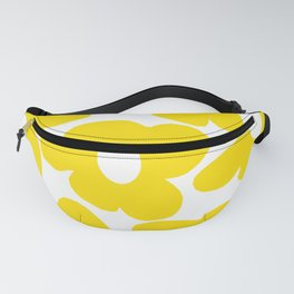 Large Yellow Retro Flowers on White Background #decor #society6 #buyart Fanny Pack