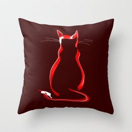 Sitting Cat from behind in Claret Throw Pillow