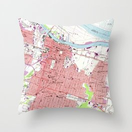 Vintage Map of Savannah Georgia (1955) 2 Throw Pillow