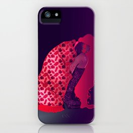 Heart Eyes | Kneeling Woman Digital Illustration, Cyber Punk Babe iPhone Case