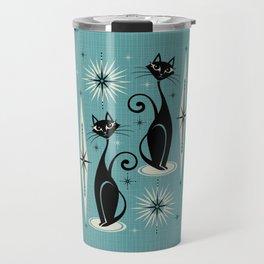 Mid Century Meow Retro Atomic Cats on Blue Travel Mug