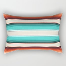 Navajo White, Turquoise and Burnt Orange Southwest Serape Blanket Stripes Rectangular Pillow