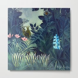 The Equatorial Jungle with Lions by Henry Rousseau Metal Print
