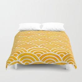 Japanese Seigaiha Wave – Marigold Palette Duvet Cover