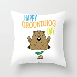 Happy Groundhog Day T Shirt Throw Pillow