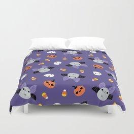 Purple Kawaii Halloween Bat Pattern Duvet Cover