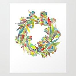 Colorful Floral Wreath Art Print