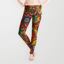 Funky Retro Pattern Mandalas Leggings