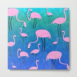 Flamingo Pond Metal Print