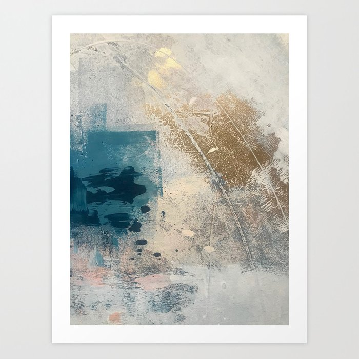 Embrace: a minimal, abstract mixed-media piece in blues and gold with a hint of pink Art Print