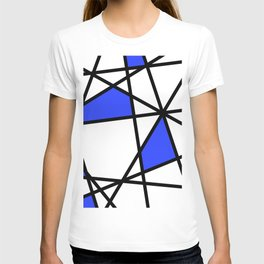 Geometric Modern triangles - white blue T-shirt