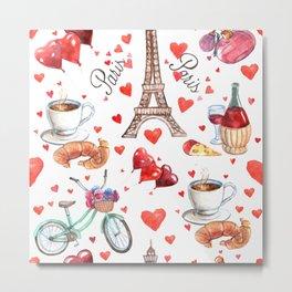 Paris & France symbols pattern Metal Print