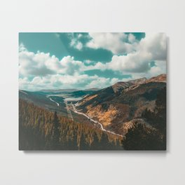 High Above // Teal Blue Sky Autumn Fall Color Woodlands in Colorado Metal Print