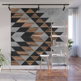 Urban Tribal Pattern No.10 - Aztec - Concrete and Wood Wall Mural