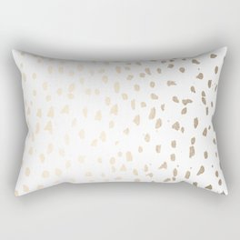 Luxe Gold Painted Polka Dot on White Rectangular Pillow