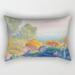 """Henri-Edmond Cross """"Two Women by the Shore, Mediterranean"""" Rectangular Pillow"""