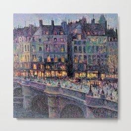 Paris - Le quai Conti along the River Seine by Maximilien Luce Metal Print
