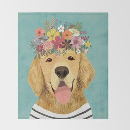Golden Retriever Dog with Floral Crown Art Print – Funny Decoration Gift – Cute Room Decor – Poster Throw Blanket