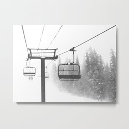 Chairlift Abyss // Black and White Chair Lift Ride to the Top Colorado Mountain Artwork Metal Print