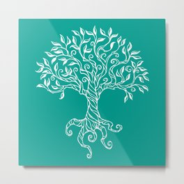 Tree of Life Teal Metal Print
