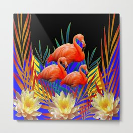 ABSTRACT BLACK-PURPLE FLORIDA FLAMINGO WATER LILIES Metal Print