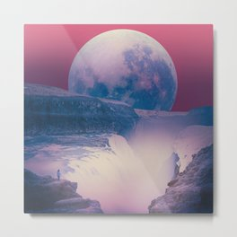 red sky with moon, Iceland Metal Print